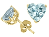 Tommaso Design™ Heart Shape 7mm Simulated Aquamarine Earring Studs