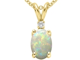 Tommaso Design™ Oval Genuine Opal and Diamond Pendant