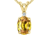 Tommaso Design Genuine Oval Yellow Orange Sapphire and Diamond Pendant