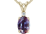 Tommaso Design Oval 7x5mm Simulated Alexandrite And Genuine Diamond Pendant