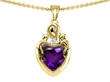 Original Star K™ Loving Mother With Children Pendant With Genuine Heart Shape Amethyst