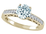 Tommaso Design™ Genuine Aquamarine and Diamond Solitaire Engagement Ring style: 303792