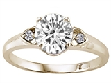 Tommaso Design™ Genuine White Topaz and Genuine Diamonds set in Engagement Ring