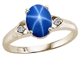 Tommaso Design™ Created Star Sapphire and Genuine Diamond Ring style: 303838