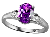 Tommaso Design™ Genuine Amethyst and Diamond Ring style: 303839
