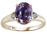 Tommaso Design™ Oval 9x7mm Simulated Alexandrite And Genuine Diamond Ring