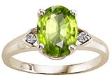 Tommaso Design™ Oval 9x7mm Genuine Peridot and Diamond Ring style: 303841