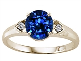 Tommaso Design Round 7mm Created Sapphire and Diamond Engagement Ring