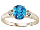Tommaso Design Round Genuine Blue Topaz and Diamond Engagement Ring