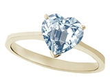 Tommaso Design™ Genuine Aquamarine Heart Shape 8mm Solitaire Engagement Ring