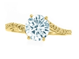 Tommaso Design™ Round 7mm Genuine Aquamarine and Diamonds Bypass Ring style: 303988