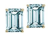 Tommaso Design™ 8x6mm Emerald Cut Simulated Aquamarine Earrings style: 304975