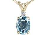 Tommaso Design™ Created Oval 9x7mm Aquamarine and Genuine Diamond Pendant