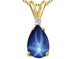 Tommaso Design Created Pear Shaped 9 x7 mm Star Sapphire and Diamond Pendant