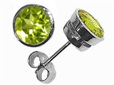 Tommaso Design™ Round Genuine Peridot Earrings