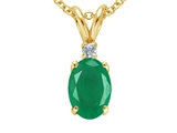 Tommaso Design™ Genuine Emerald and Diamond Pendant style: 305636