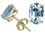 Tommaso Design™ Oval 8x6mm Genuine Aquamarine Earring Studs