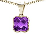 Tommaso Design Clover Cut Genuine Amethyst Pendant