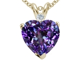 Tommaso Design 8mm Heart Shape Simulated Alexandrite And Genuine Diamond Pendant