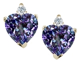 Tommaso Design Heart Shape Simulated Alexandrite and Genuine Diamonds Earring Studs