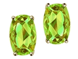 Tommaso Design Checkerboard Cushion Cut Genuine Peridot Earrings