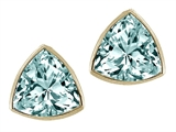 Tommaso Design™ Trillion Cut Genuine Aquamarine Earrings Studs style: 306103