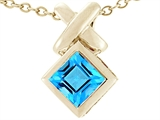 Tommaso Design 6mm Square Cut Genuine Blue Topaz Pendant