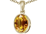 Tommaso Design 9x7mm Oval Checker Board Cut Genuine Citrine Pendant