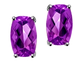Tommaso Design™ Checkerboard Cushion Cut Genuine Amethyst Earrings
