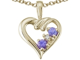 Tommaso Design™ Round Genuine Tanzanite and Diamond Heart Pendant