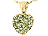 Tommaso Design Puffed Heart with Round Genuine Peridot Pendant