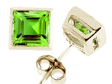 Tommaso Design™ Square Cut Genuine Peridot Earrings