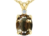Tommaso Design™ Oval 12x10 mm Genuine Smoky Quartz And Diamond Pendant