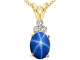 Tommaso Design™ Oval 8x6mm Created Star Sapphire and Genuine Diamond Pendant
