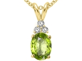 Tommaso Design™ Oval Genuine Peridot and Diamond Pendant