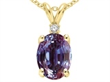 Tommaso Design Oval Simulated Alexandrite And Genuine Diamond Pendant