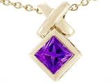Tommaso Design Square Genuine Amethyst Pendant