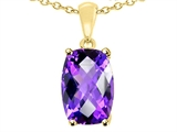 Tommaso Design™ 8x6mm Cushion Octagon Cut Genuine Amethyst Pendant