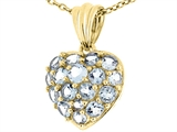 Tommaso Design 1inch Puffed Heart with Genuine Aquamarine Pendant