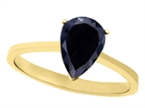 Tommaso Design Genuine Black Sapphire Pear Shape Solitaire Engagement Ring