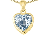 Tommaso Design™ Heart Shape Genuine Aquamarine Pendant