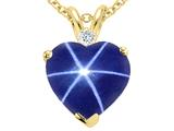 Tommaso Design™ Heart Shape Created Star Sapphire and Diamond Heart Pendant style: 310582