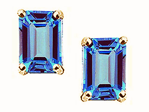 Tommaso design Studio 3.50 cttw Tommaso Design Emerald Cut 8x6mm Genuine Blue Topaz Earrings in 14k Yellow Gold at Sears.com