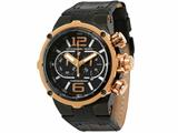 Officina Del Tempo Power 49mm Chronograph Black/Rose PVD Leather Band (OT1030/10NSE) Made in Italy