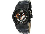 Officina Del Tempo Racing 44mm Chronograph Leather Band Black PVD (OT1051/1240NON) Made in Italy