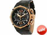 Officina Del Tempo Power 49mm Chronograph Black/Rose PVD Leather Band (OT1030/10NSE) Made in Italy style: OT103010NSE