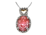 Zoe R Fancy Pink CZ Pendant with Diamonds