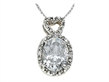 Zoe R White CZ Pendant with Diamonds