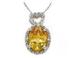 Zoe R Fancy Yellow CZ Pendant with Diamonds