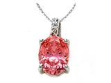 Zoe R Fancy Pink CZ Pendant with Diamond